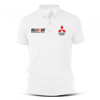 Polo T Shirt Sulam Mitsubishi Motor Ralliart Racing Lancer Evo Evolution Motorsport Turbo Tuning Rally WRC Performance